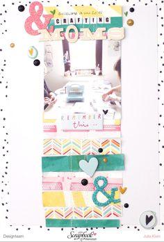 Layout Bastelnde Mütter - Septemberkit der Scrapbook Werkstatt  #scrapbooking #scrapbookinglayout #memorykeeping #freckledfawn #pinkfreshstudio