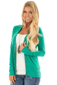 2c2a4edd2be8 Lime Lush Boutique - Kelly Green Button Up Sweater Cardigan, $36.99 (https:/