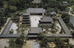 11-4 Aerial View of Horyuji Compound, Pagoda to the west (left), golden hall (kondo) to the east (right). Nara Prafecture. Asuka period, 7th century CE. UNESCO World Heritage Site, National Treasure. The Horyuji is the most significant early Japanese temple located not far from Nara in Japans central plains. The temple serves as the oldest wooden temple in the world. It is also a beautiful monument to buddhist faith. 360