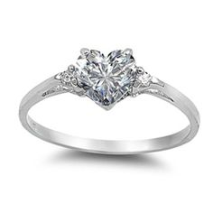 0.50 Carat Clear Russian Iced Out Diamond CZ Heart Shape Round 925 Sterling Silver Promise Ring Love Valentines Gift Wedding Engagement Ring
