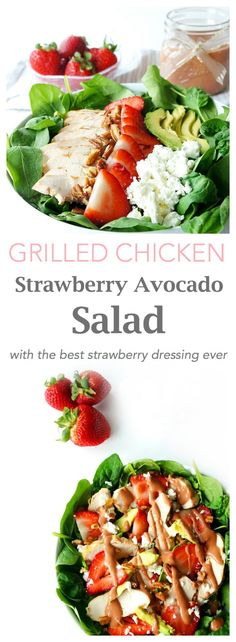 This grilled chicken strawberry avocado salad is a light, healthy and filling salad that's packed full of refreshing flavours and nutrients. With its fresh strawberries and strawberry balsamic vinaigrette, it's the perfect way to make use of the seasonal produce this summer.