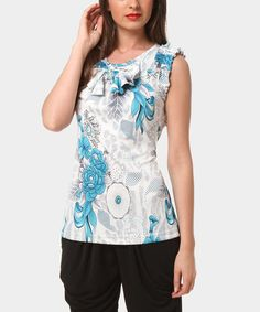Another great find on #zulily! Blue Floral Angel-Sleeve Top by Almatrichi #zulilyfinds