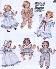 Vintage BABY DOLL Clothes Sewing Pattern - Dolls Wardrobe in THREE Sizes Uncut