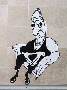 Painel de Azulejos na Estação do Metropolitano do Aeroporto, de Lisboa, Portugal ~~ Caricatura de Virgílio Ferreira, por António, 2012Set
