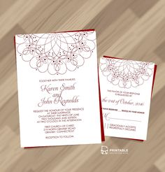 Spiral Ornament Border Wedding Invitation and RSVP