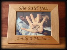 She Said Yes Engagement  Picture Frame Engagement Gift Photo
