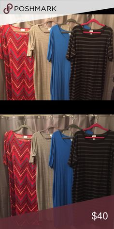 Lularoe Julia Dress This listing is for 1 Julia. Please specify which one you want at purchase.   Left 2 are 2XL BNWT Right 2 are 3XL BNWOT   Items are cross posted. LuLaRoe Dresses Midi