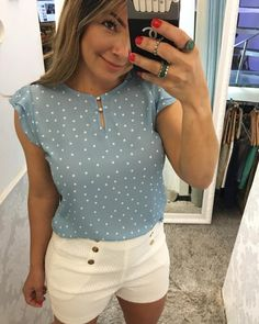Blouse Styles, Blouse Designs, Church Outfits, Polka Dot Blouse, Summer Tops, Dress Skirt, Shirt Style, Going Out, Casual Outfits