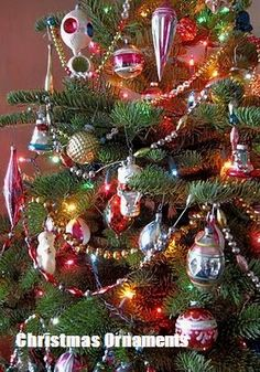 *VINTAGE CHRISTMAS ORNAMENTS ~ over the last few year I have collected enough vintage ornaments to decorate the entire tree in vintage. Christmas Countdown, Christmas Past, Christmas Images, Winter Christmas, Christmas Bulbs, Christmas Snowman, Old Time Christmas, Christmas Mantles, Christmas Ideas