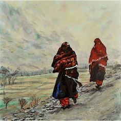 In Afghanistan is based on a photograph by an Afghan woman student.  It shows that Afghan women are not forced to wear the Burqa and can travel without a male family member, such as on this remote village road. But the Taliban and religious terrorist rule influenced women to cover their faces with a Chadar (scarf). Before, women would only cover their heads, not their faces. The painting is 20 by 20 inches, gallery wrapped on heavy duty stretchers, with painted sides. It is $1,300.
