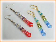 Long Crystal earrings beading tutorial STEP BY STEP by AsszaJewelrymania, $3.00 This listing is for the Pdf tutorial only. The finished product is not included, there are no supplies included.