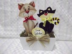 Floreira de gatos miaus   Artesanatos Ingrid Carvalho   173861 - Elo7