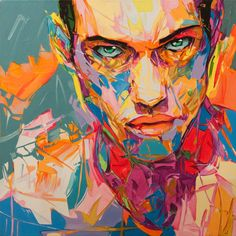 Abstract portrait 50x50 by SztuknijSie on Etsy