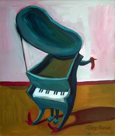 pianito 1 (B). Painting of the Serie Surrealism for sale by artist Diego Manuel