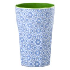 Melamine Two Tone Latte Cup with Blue and White Marrakesh Print - Rice A/S