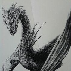 Another sketch of Smaug. Lidia Barragán #sketch #smaugthedragon #smaug #dragon