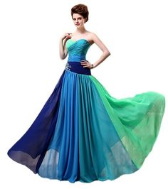 Belle House Strapless Rhinestone Chiffon Bridesmaid Evening Party Prom Dress HSD063: Amazon Fashion