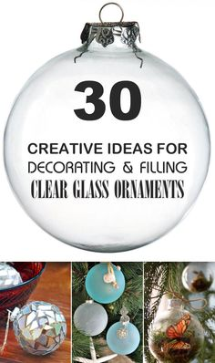 these 30 DIY ideas for clear glass ornaments to add precious memories and lots of spirit to your Christmas tree!Try these 30 DIY ideas for clear glass ornaments to add precious memories and lots of spirit to your Christmas tree! Christmas Ornaments To Make, Homemade Christmas, Christmas Projects, Holiday Crafts, Christmas Decorations, Christmas Ideas, Glass Christmas Balls, Christmas Quotes, Blue Christmas