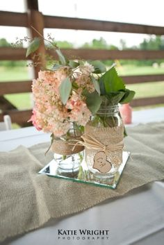 Wedding DIY - Burlap Mason Jar Centerpieces - Katie Wright Photography