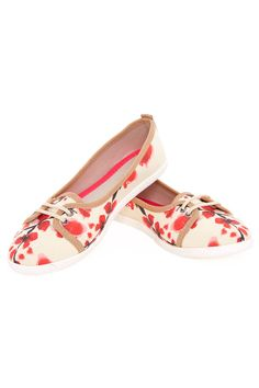 GOBY Cherry Blossom Shoes in Beige and Orange Red