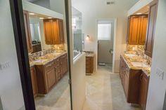 Master bath and mirrored closet door. Bath design & remodeling by Danilo Nesovic, Designer · Builder (dndb.info)