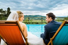 Chilling out by the pool at a Caer Llan Wedding near Monmouth in the beautiful Wye Valley of South Wales.