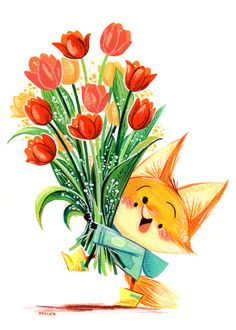 VK is the largest European social network with more than 100 million active users. Art And Illustration, Fuchs Illustration, Illustration Inspiration, Cute Animal Illustration, Illustrations, Animal Drawings, Cute Drawings, Happy Birthday Wallpaper, Fox Drawing