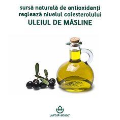 """Consumat cu moderație, uleiul de măsline face parte din categoria grăsimilor """"bune"""" care nu trebuie să lipsească din alimentație. Este o sursă naturală de antioxidanți, are efect antiinflamator și reglează nivelul colesterolului. Fiind bogat în calorii, este indicat consumul a maxim 2 linguri de ulei de măsline zilnic. #uleidemasline #uleiurivegetale #nutritie #dieta Natur House"""