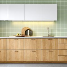 Permalink to Beautiful Ikea Green Kitchen Cabinets Green Kitchen Cabinets, Farmhouse Kitchen Cabinets, Kitchen Cabinet Design, Painting Kitchen Cabinets, Ikea Kitchen, Kitchen Tiles, Kitchen Interior, Kitchen Decor, Kitchen Board