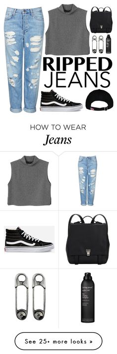 """ripped jeans "" by natalyyyyyya on Polyvore featuring mode, Vans, Topshop, Monki, Proenza Schouler et Living Proof"