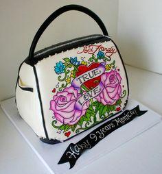 Hand painted Ed Hardy purse cake with dark chocolate handle and trim