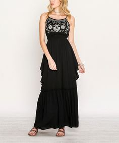 Boasting a floor-skimming design to add elegance to your looks, this breezy dress is sure to become a go-to in your warm-weather wardrobe.Black Embroidered-Bodice Maxi Dress