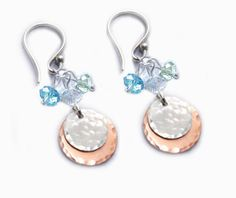 Sterling Silver Hammered Earrings Dangle Bead Charms by JSCJewelry, $62.00