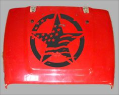 "Distressed American Flag Star hood decal shown on Jeep Hood 22"""