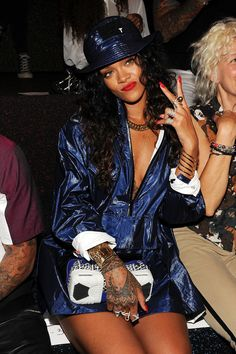 Rihanna at the Alexander Wang Spring 2015 runway show.
