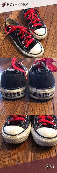 Black Converse Chuck Taylors Worn, but in good condition black converse all star Chuck Taylors. Will spiff right up with a good cleaning. No damage to the shoes. Brand new red laces. Snap these up for spring and summer! Converse Shoes Sneakers