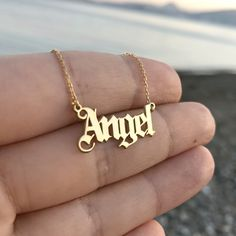 Old English Name Necklace - Gothic Name Necklace - Custom Name Necklace - Old English Letter Necklace - Sterling Silver -Gold Name Necklace by MavenArtJewel on Etsy Good Luck Necklace, Gold Name Necklace, Custom Name Necklace, Letter Necklace, Engraved Necklace, Moon Necklace, Angel Necklace, Engraved Jewelry, Yellow Necklace