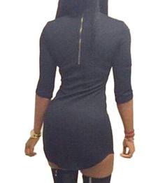 Popbop Sexy Women O Neck Half Sleeve Zip Back Bodycon Mini T Shirt Dress: Amazon.co.uk: Clothing