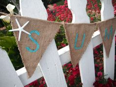 Summer Burlap Banner REVERSIBLE, Fourth of July - Summer Party Decorations, Starfish