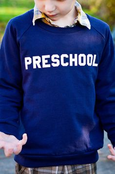 "Kids ""Preschool"" Pullover Sweatshirt By Hatch For Kids - Children's Clothing Fleece Animal House Bluto College School - Size 2t, 4t, 6"