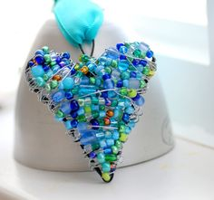 Beaded Wire Heart, Blue and Green Wire Wrapped Ornament, Decoration or Suncatcher - Missing You.  via Etsy.
