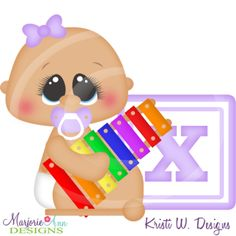 Alphabet Baby~X SVG Cutting Files Includes Clipart
