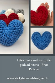 Great stash buster - little padded hearts to use as decorations, bunting or gifts.  Free pattern with lots of photos to show how to make these up on my blog. Crochet Motif, Crochet Designs, Crochet Hooks, Free Crochet, Crochet Patterns, Crochet Ideas, Crochet Instructions, Chunky Yarn, Heart Patterns