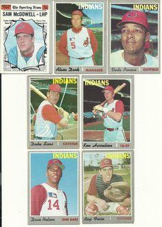 1970 VINTAGE Topps INDIANS Team partial set / lot McDowell Pinson Harrelson Dark #ClevelandIndians