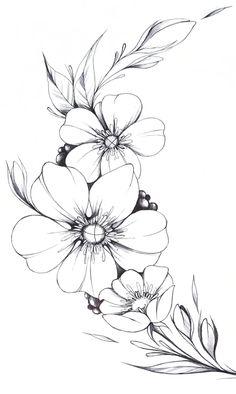 Easy Flower Drawings, Beautiful Flower Drawings, Flower Art Drawing, Flower Sketches, Floral Drawing, Drawing Drawing, Line Drawings Of Flowers, Drawing Ideas, Simple Flower Drawing