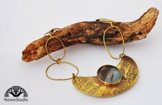 Beautiful One Of A Kind Etching Brass Necklace with Stunning Agathe Stone. by NowoStudio