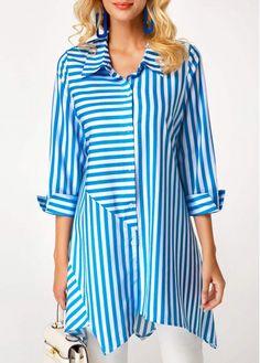 Stripe Print Button Up Blue Blouse | modlily.com - USD $28.85