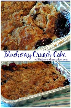 Blueberry Crunch Cake - an easy deliciou. - Blueberry Crunch Cake from Walking on Sunshine Recipes. Easy and Delicious recipe that uses a cake - Blueberry Crunch Cake Recipe, Blueberry Dump Cakes, Crunch Recipe, Blueberry Desserts, Köstliche Desserts, Dessert Recipes, Blueberry Recipes Using Cake Mix, Easy Blueberry Cobbler, Blueberry Cheesecake