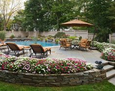 beautiful patio and pool surrounded by flowers