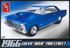 1966 Chevy Nova Pro Street Plastic Model Car Kit 1/25 Scale #636 ...